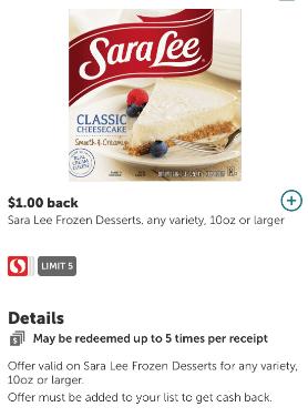 sara lee cheesecake coupon