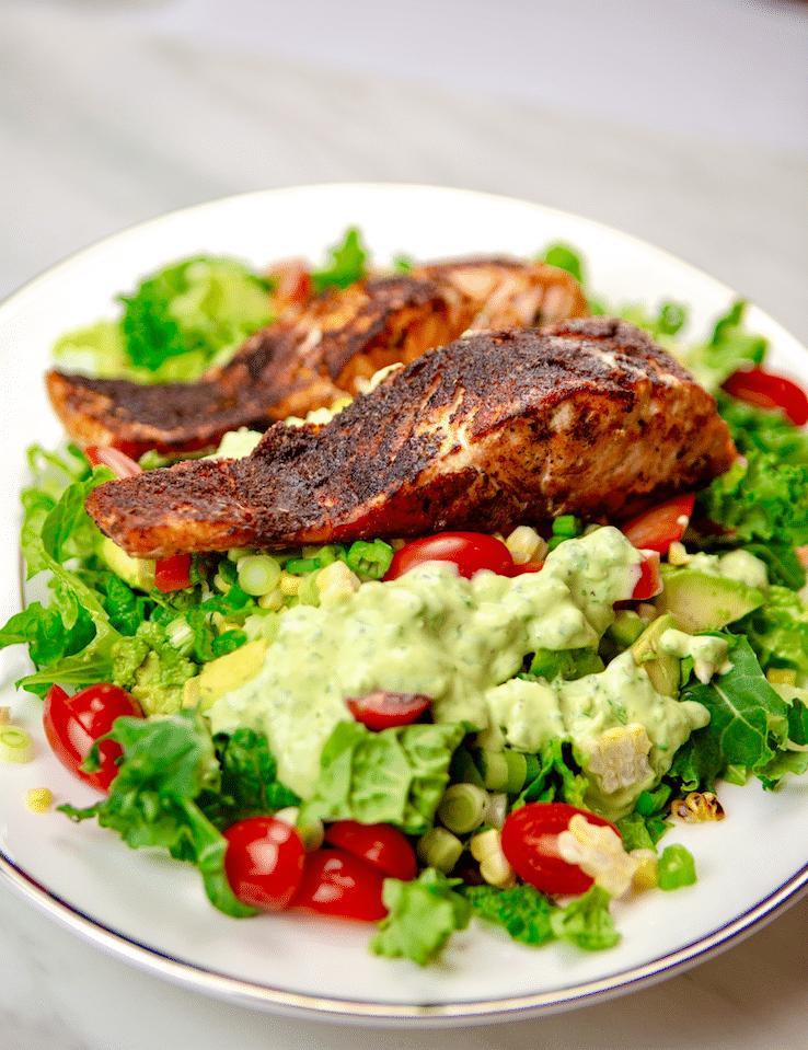 Blackend_Salmon_Salad_Cilantro_Lime_Quark_Dressing