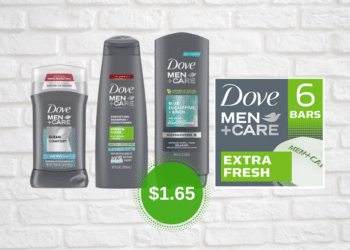 $1.65 Dove Men+Care Hair Care, Body Wash and 6 Ct. Bar Soap at Safeway