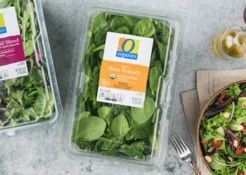 Save on O Organics Salad Tubs 16 oz ($3.50) and O Organics Mini Carrots, as low as $.99