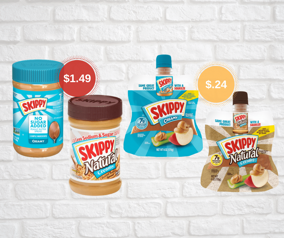 Skippy No Sugar Added Peanut Butter Just $1.49, Peanut Butter Pouches Just $.24