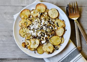 Roasted Lyonnaise Potatoes With Onions and Feta