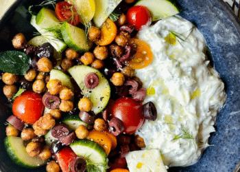 Tzatziki Greek Yogurt Bowl With Air-fried Chickpeas