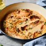 Skillet Chicken with sun-dried tomatoes and spinach