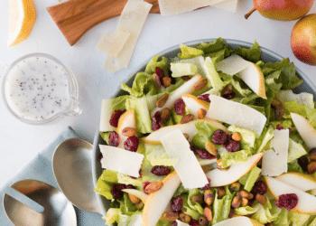 Pear Pistachio Salad With Cranberries & Lemon Poppyseed Dressing